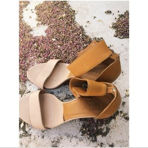 Chloè tan and brown leather t-strap wedge shoes